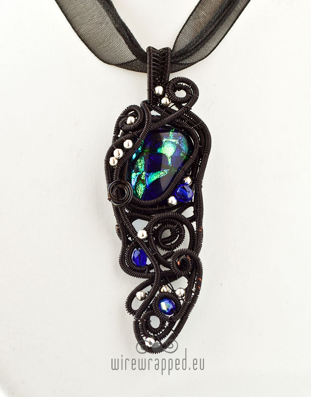 Blue black and green artifact pendant by ukapala