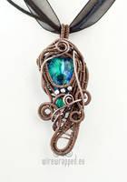 Aqua blue asymmetric pendant by ukapala