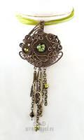 Industrial green eye pendant