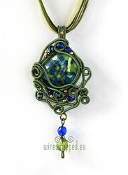Green and blue wire wrapped pendant