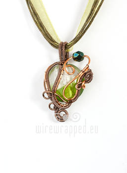 Green and Copper Wirewrapped Pendant
