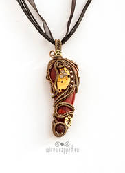 Red Steampunk Tooth Pendant