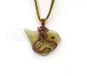 Green and copper birdie pendant