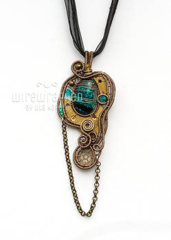Teal steampunk freeform pendant