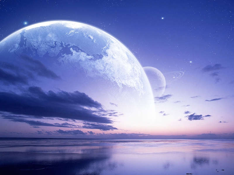 Water Blue Clouds Outer Space Stars Planets Purple By