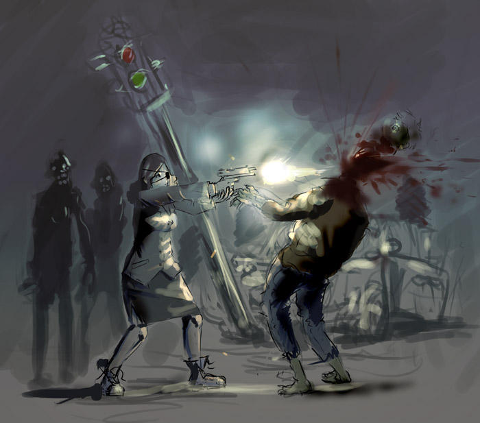 BOOM headshot by Dmitrys 45 Awesome Apocalyptic Zombie Artworks