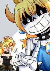 Sansette and Bowsette by IchikaSenpai