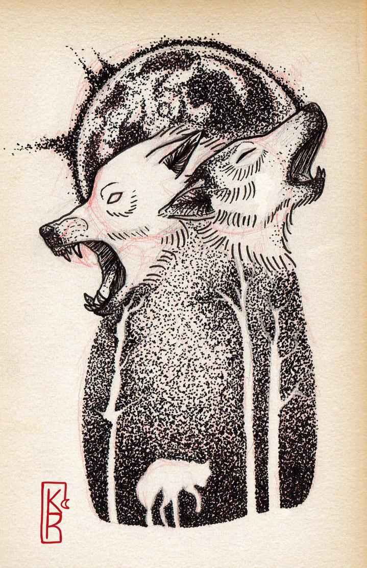 Shadow's Fox ( tattoo ). Wolf_under_the_moon__by_shadowsfoxshop-d9i40a1