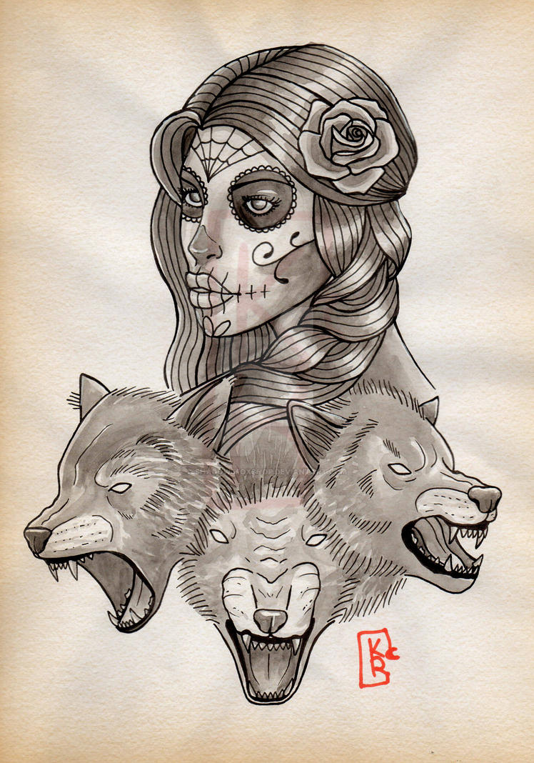 Shadow's Fox ( tattoo ). Catrina_and_wolves_by_shadowsfoxshop-d9sg6hx