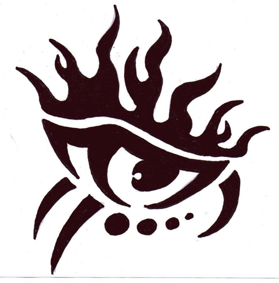 tribal eye with flames by tzahrkiya on deviantart. Black Bedroom Furniture Sets. Home Design Ideas