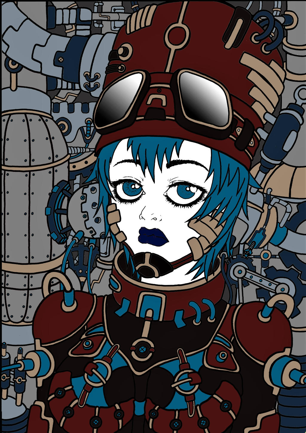 Mechanical woman by Kagami-Art