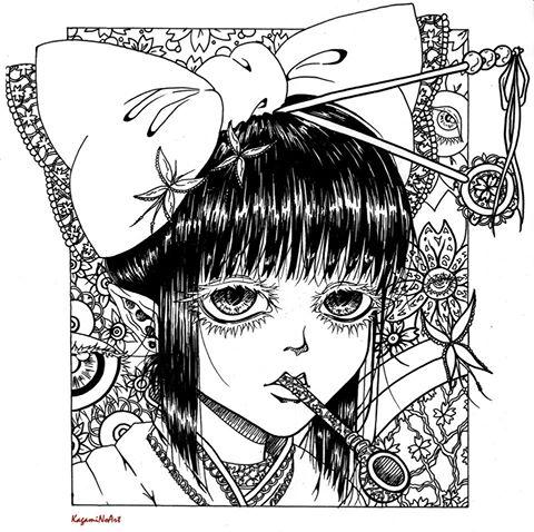 Yukata girl dark ended by Kagami-Art