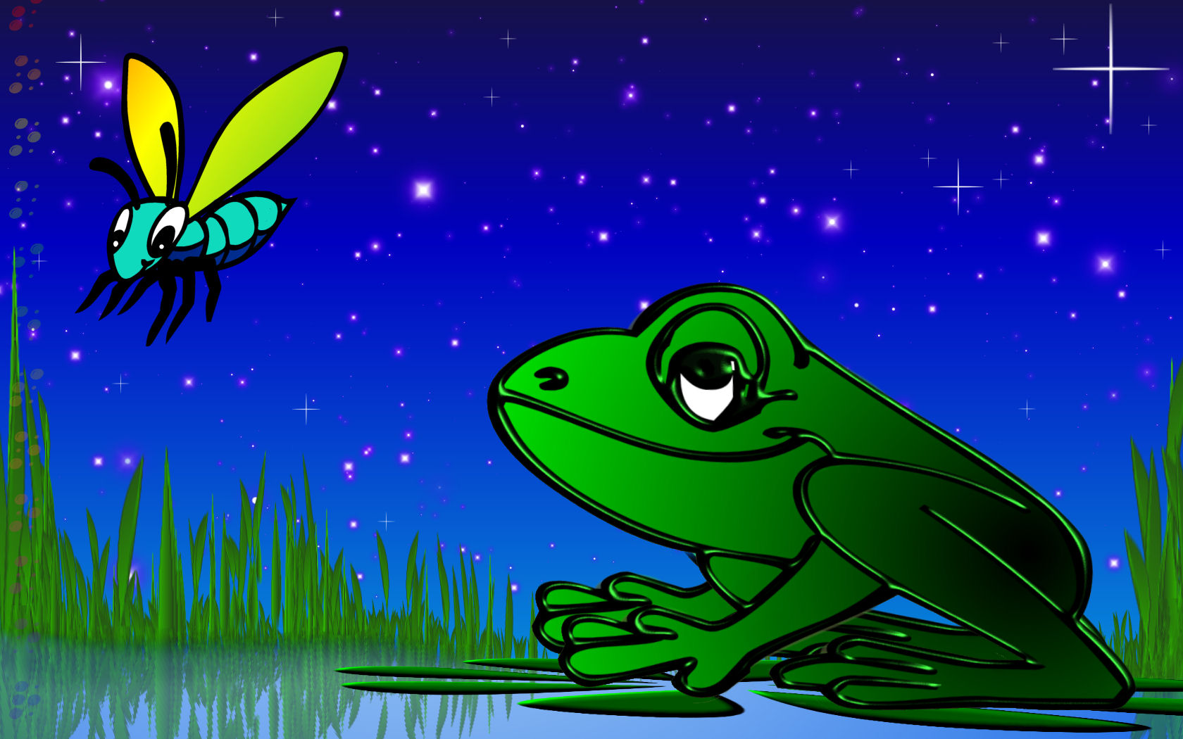 Sookie Frog And Fly Wallpaper by sookiesooker