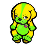 Love Pug Puppy Yellow and Green