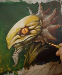 Monsterhead in progress by ebver