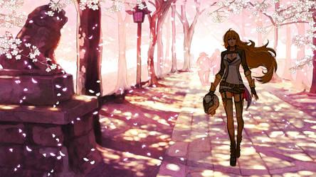 Yang Xiao Lung RWBY Watercolour Wallpaper by TheJ0ker33