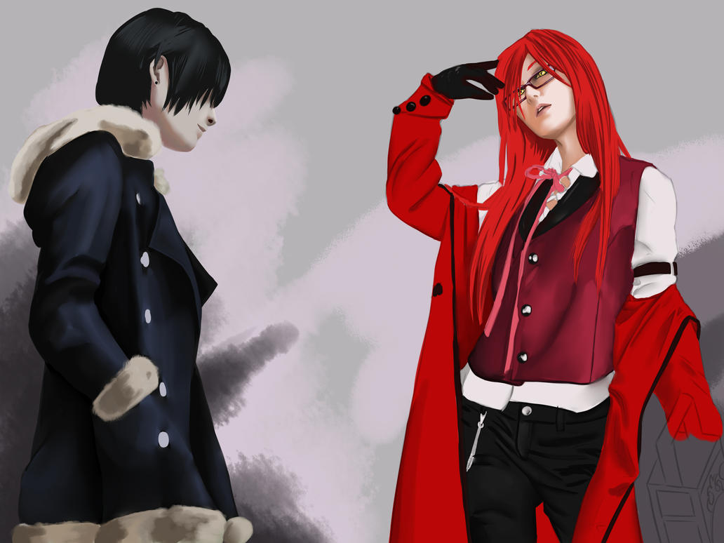 Izaya and Grell by forgotten-wings