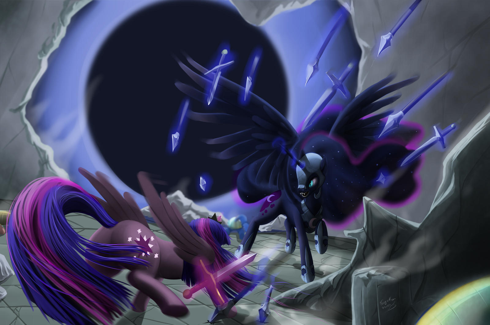 twilight sparkle versus nightmare moon by forgotten-wings