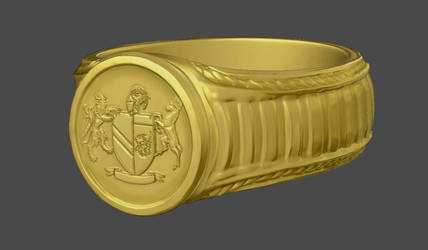 Zbrush sculpt: Golden Signet Ring by Spacer176