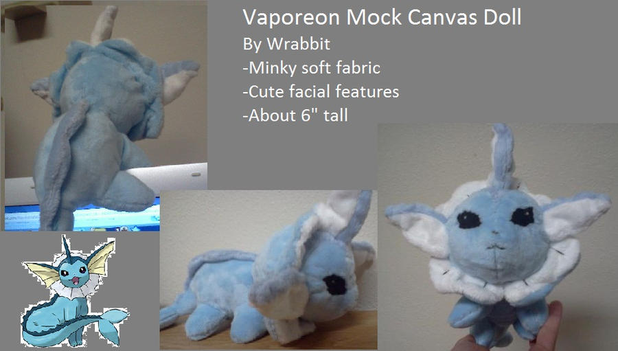 Vaporeon Mock Canvas Plush by theamazingwrabbit