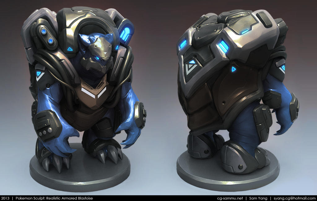 Pokemon Sculpt Realistic Armored Blastoise 2013 by cg-sammu