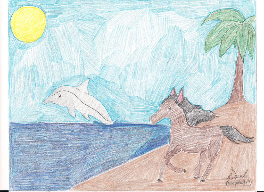 horse and a dolphin by rosepetal179
