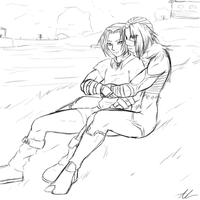 Link and male sheik cuddle request by Astatos-Luna