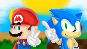 Mario  sonic fan art