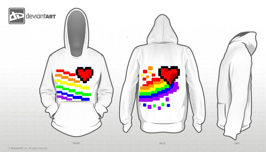 8 Bit Design: Rainbow Hearts by BarfingNeonRainbows