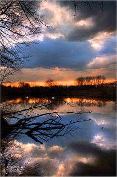 Sunset sky phenomenon at the pond