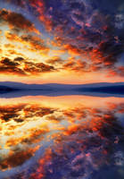 Sunset sky clouds water reflection 2 ~ STOCK