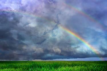 Rainbow sky field WALLPAPER and STOCK