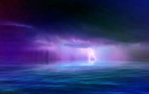 Thunderstorm lightning over the seascape WALLPAPER by AStoKo