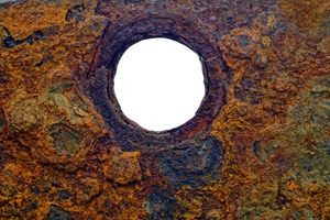 Hole in rusty metal 01 by AStoKo