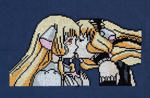 Chi and Freya cross stitch finished by KitsuneGemma