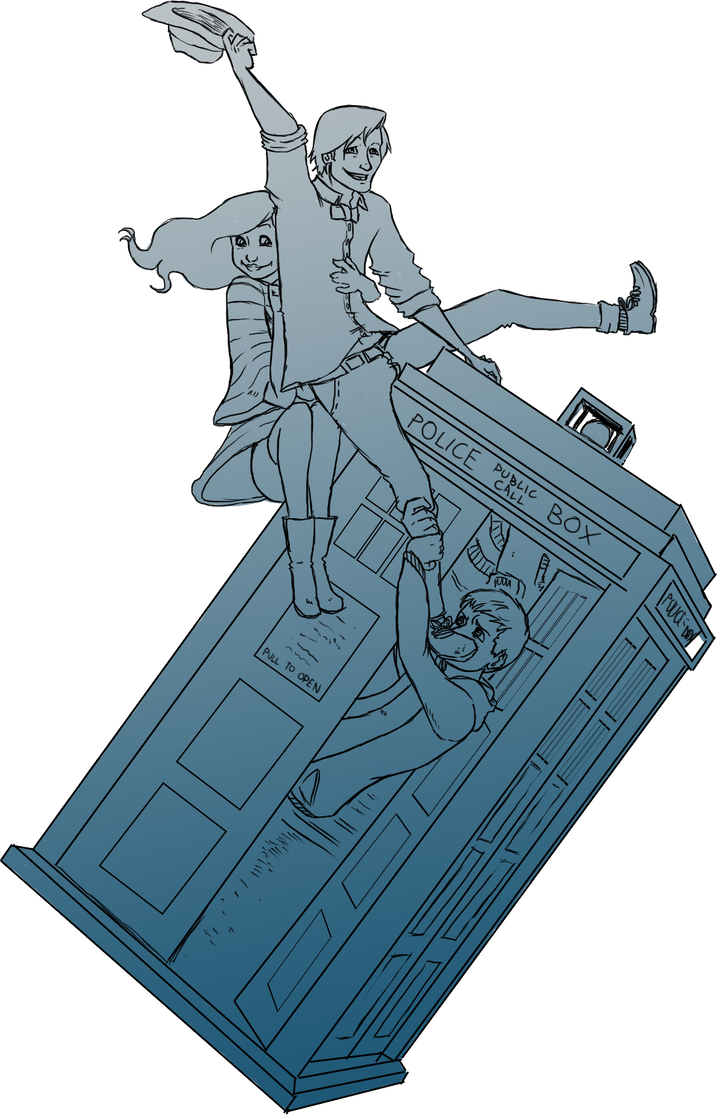The Doctor riding the TARDIS by SethKyo