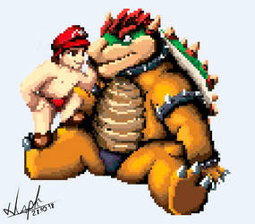 Mario and Bowser rest from battles