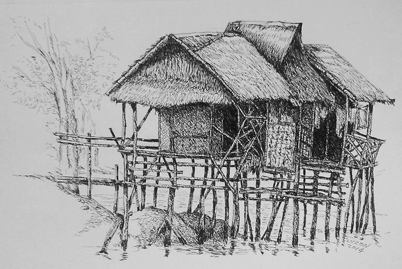 The Tagbanua Hut. pen and ink 2014. by DanteLuzon on ...