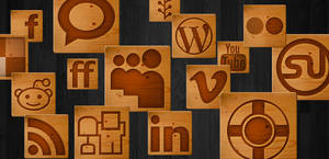 Woodcut Social Media Icons