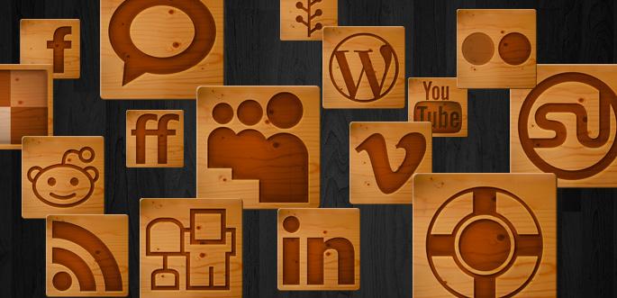 Woodcut Social Media Icons by arsgrafik