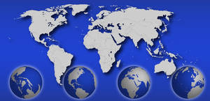 Vector World Map + Globes