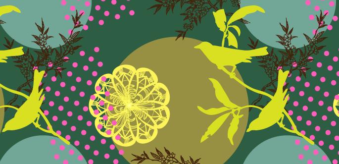 Vintage Bird-Flower Pattern by arsgrafik