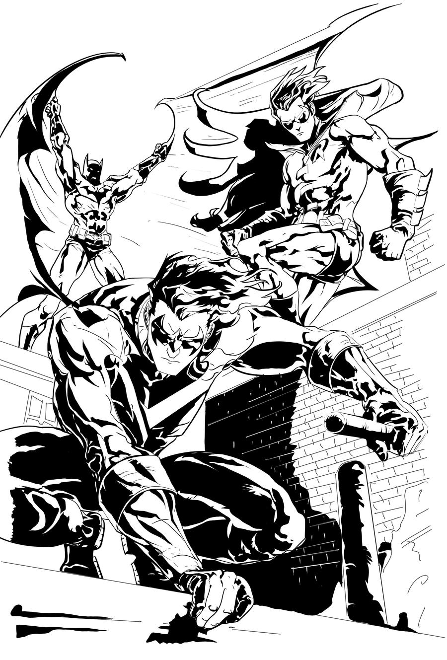 Batman robin and nightwing by philliecheesie on deviantart for Batman and robin coloring page