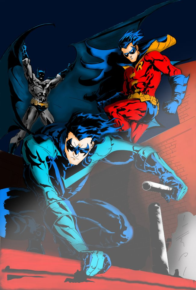 Batman Robin And Nightwing Colored By PhillieCheesie
