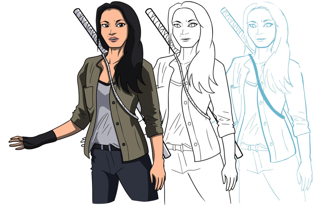 Colleen Wing with sketches by PhillieCheesie