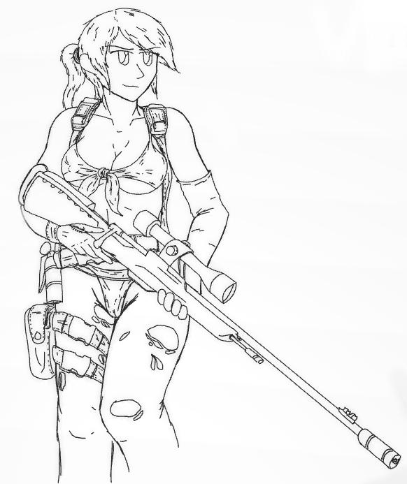 Line Drawing Quiet : Quiet line metal gear solid art by lerezwarrior
