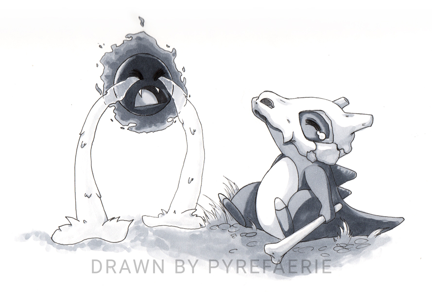 Day 5: Sad = Cubone and Ghastly by pyrefaerie