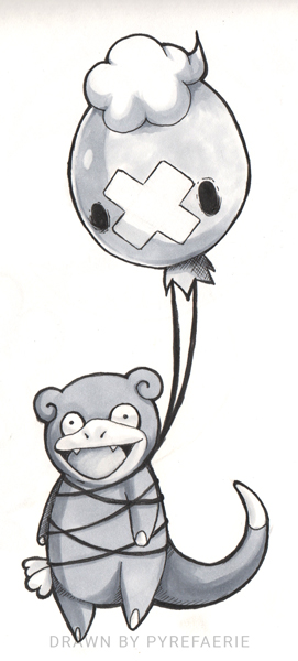 Day 7: Lost - Drifloon and Slowpoke by pyrefaerie