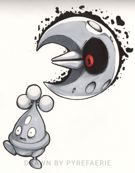 Day 8: Rock - Bonsly and Lunatone by pyrefaerie