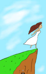 Just some girl, standing on a cliff...